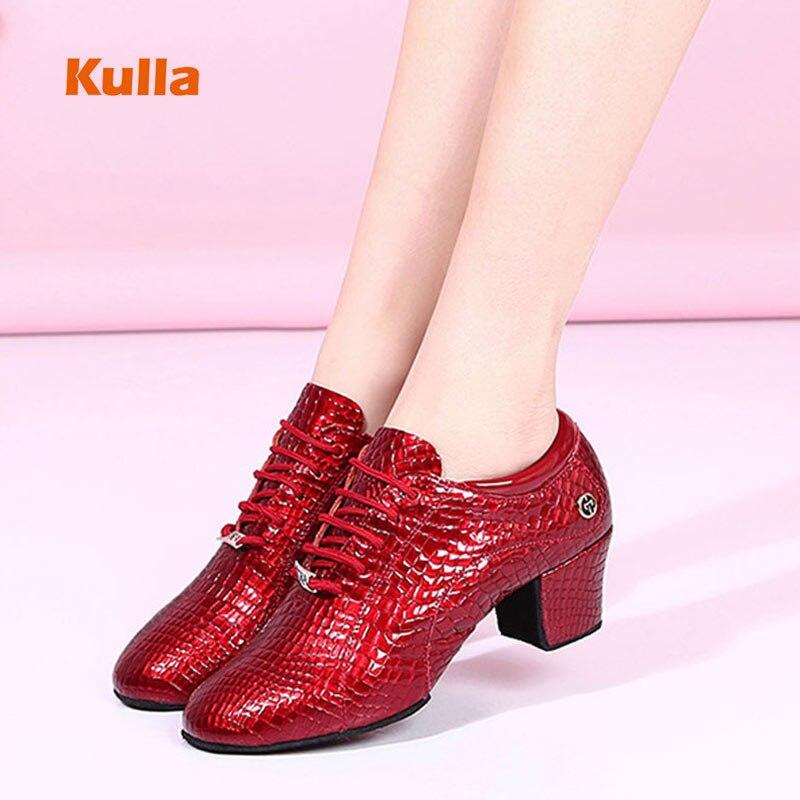Chaussures de danse latine en cuir véritable pour femme enseignants semelle souple talons 5 cm salle de bal Tango Salsa pratique chaussures de danse rouge/noir