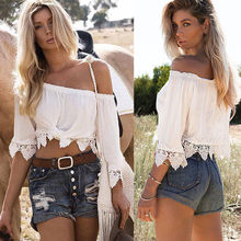 Lace Crochet Slash Neck Shirt Women Crop Top Sexy Casual Off Shoulder Lace Tops Women Blouse(China)
