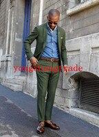 Зеленый шерстяной костюм на заказ костюм Slim Fit мужской костюм для повседневной носки, так и на все случаи жизни (куртка + брюки) HS8013