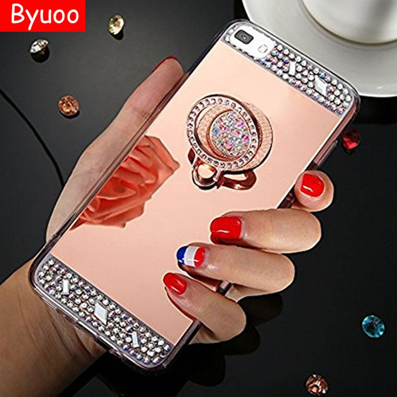 Mirror Bling Ring Holder Case for Huawei Y6 Y7 Prime 2018 honor 10 7C 7A Pro 6X 7X 8 9 V8 V9 V10 P9 P8 P10 Lite P20 Pro P20 Lite