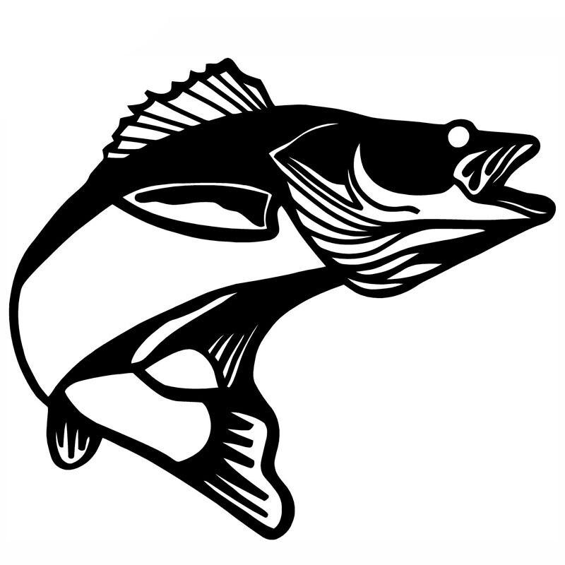 11*9.7CM Walleye Pickerel Fish Cartoon Fun Car Styling Personalized Car Stickers Black Silver C2-0461
