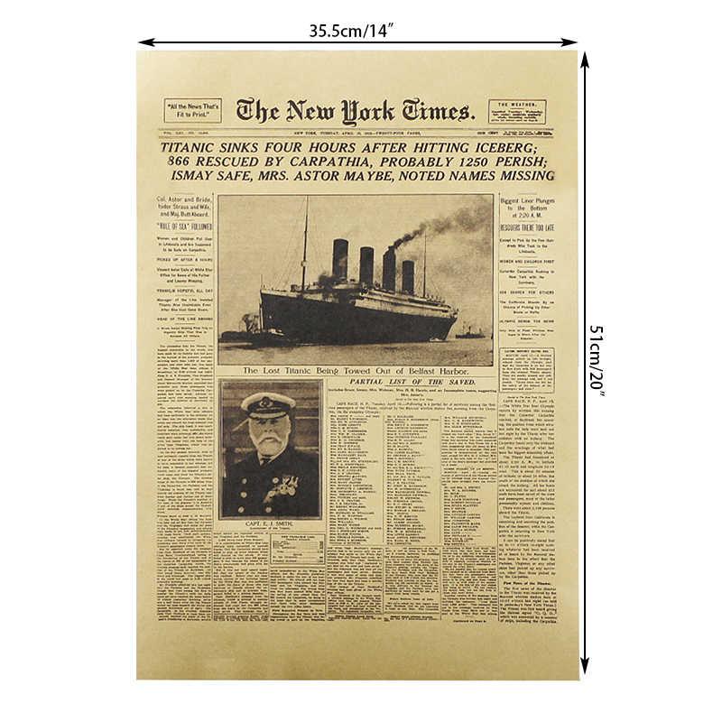 DLKKLB el New York veces carteles de películas el Titanic se hunde titulares Vintage Posters pared adhesivos decoración de dormitorio