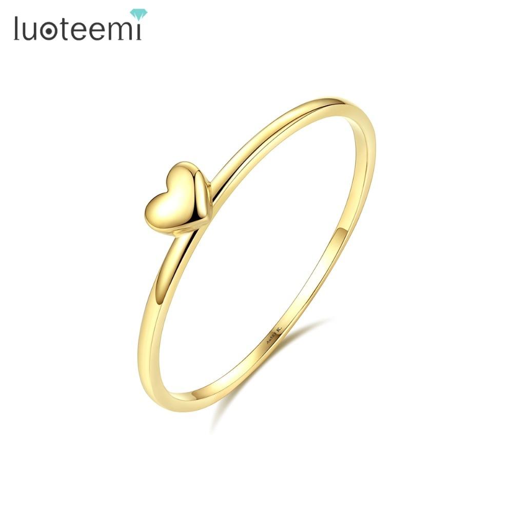 LUOTEEMI, нежное милое Золотое кольцо на палец в форме сердца для женщин, обручальные кольца для невесты, хорошее ювелирное изделие, подарок на Рождество