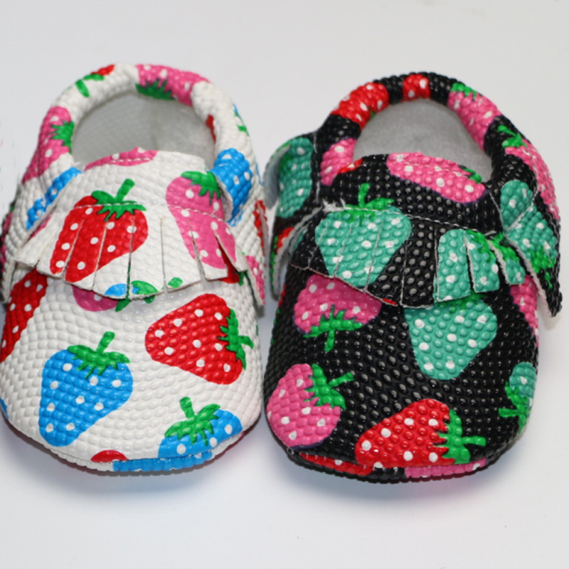 Handmade Soft Bottom Fashion Tassels Baby PU Print Strawberry Newborn Babies Shoes 2 colors PU leather