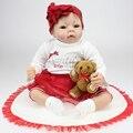 50-55 CM Adorável Silicone Renascer Baby Dolls Hobbies Handmade Corpo Mole Realista Boneca Reborn Bebê com Brinquedo Cobertor para o Presente da Criança