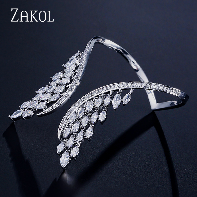 ZAKOL Fashion Luxury Cubic Zirconia Big Angle Wings Shaped Cuff Bracelet Bangle For Women Girl Party Wedding Jewelry FSBP2011 delicate solid color glazed t shaped cuff bracelet for women