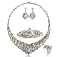 Dazz роскоши свадебные Наборы свадебных ювелирных изделий Серебро Цвет большой Размеры браслет серьги, перстень Для женщин колье Joias