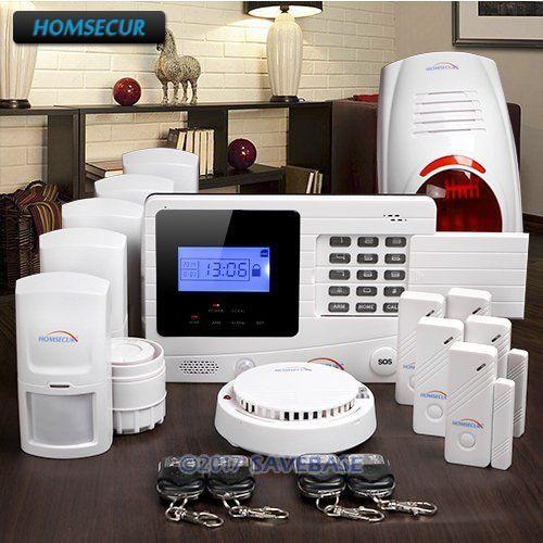 HOMSECUR Wireless GSM SMS Autodial Burglar Alarm System+Flash Siren+Smoke Sensor