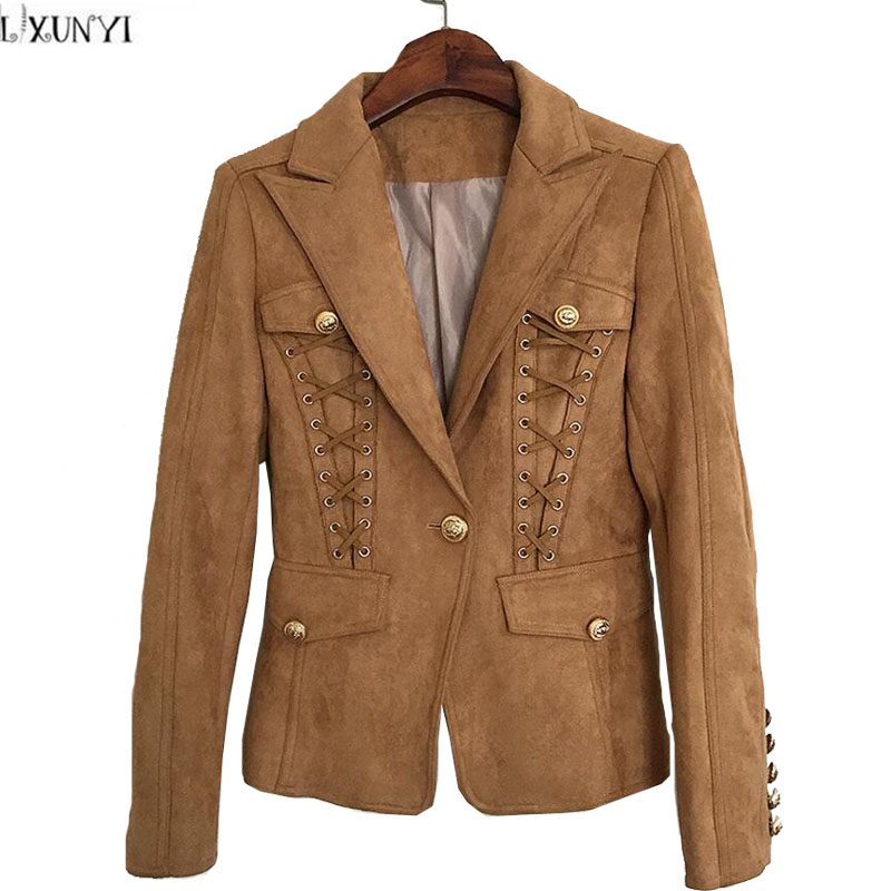 Blazers And Jackets: LXUNYI Women Blazers And Jackets Casual Metal Buttons Lace