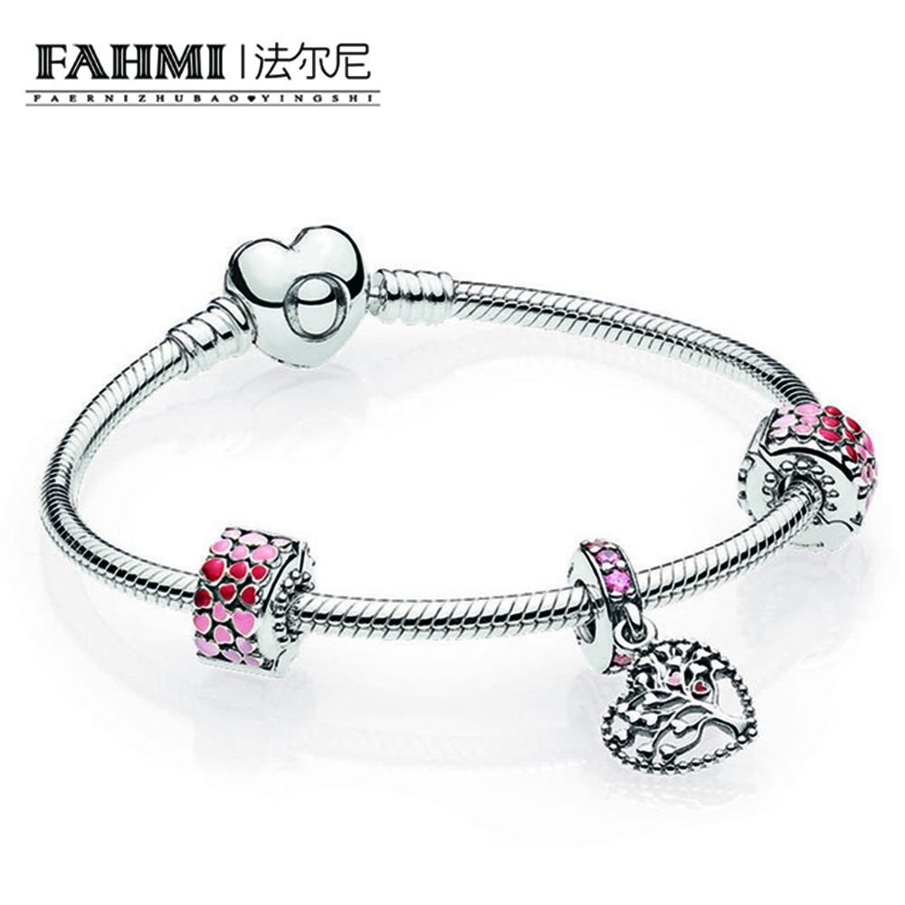 FAHMI 925 Sterling Silver Jewelry Romantic Lovers Set Ladies Silver Gift Bracelets Valentine's Day Style Send Girlfriend