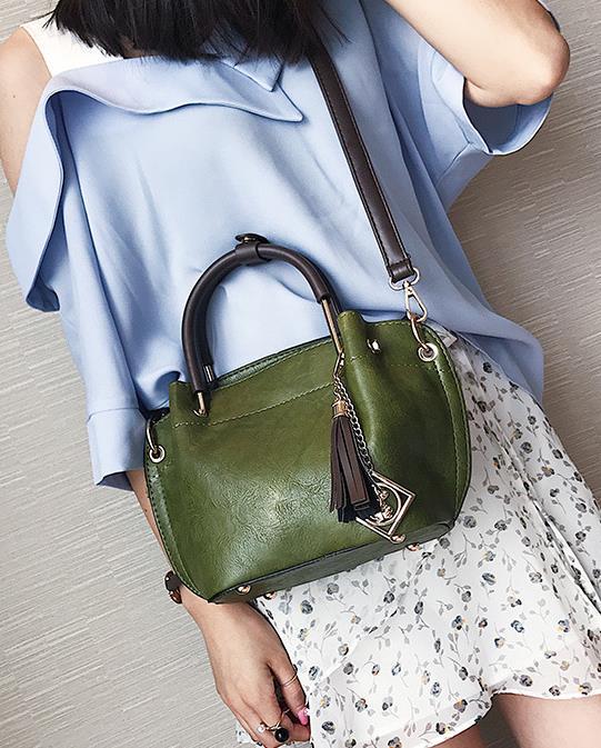 fashion pu leather tassel shoulder bag women casual handbag small leisure business shopping messeger