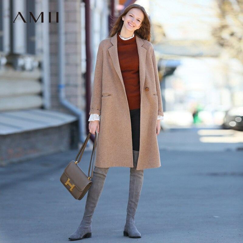 Amii Minimalist Albaka Alpaca Wool Double Faced Coat Women Autumn Winter 2018 Causal Solid Female Long