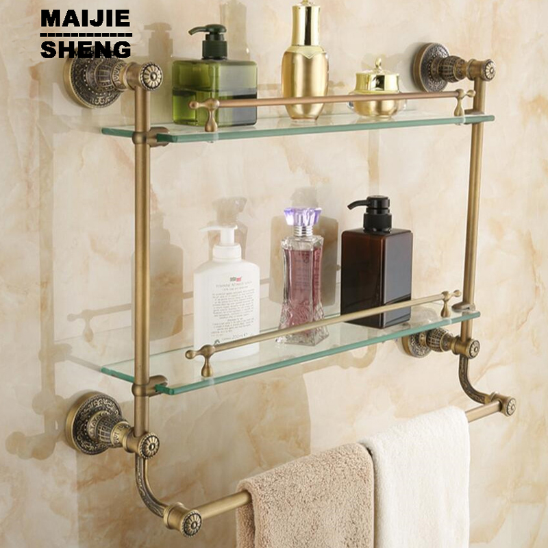 shelf bathroom shelf corner shelf for bathroom double level glass bathroom glass shelf antique brass glass
