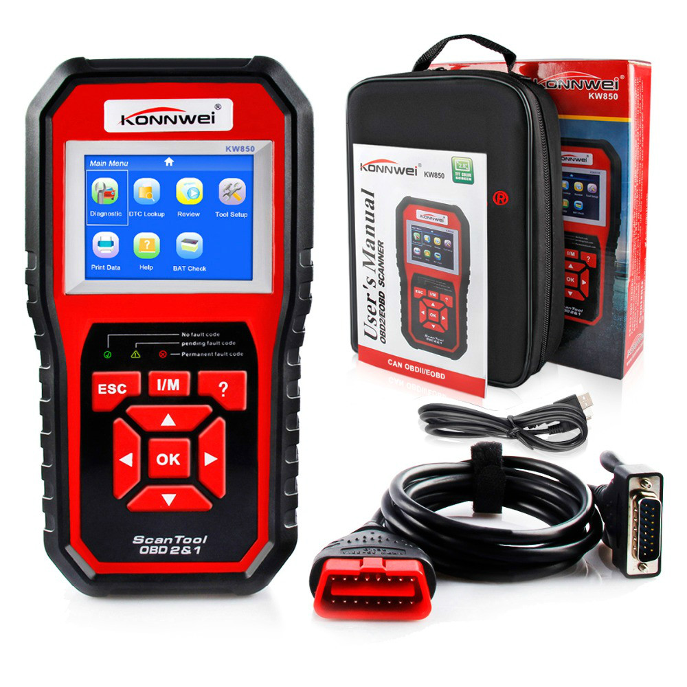 New Best ODB2 OBD2 Autoscanner Car Diagnostic Tool KONNWEI KW850 OBD2 Scanner Supports Multi-languages Auto Diagnostic Scanner best price mgehr1212 2 slot cutter external grooving tool holder turning tool no insert hot sale brand new