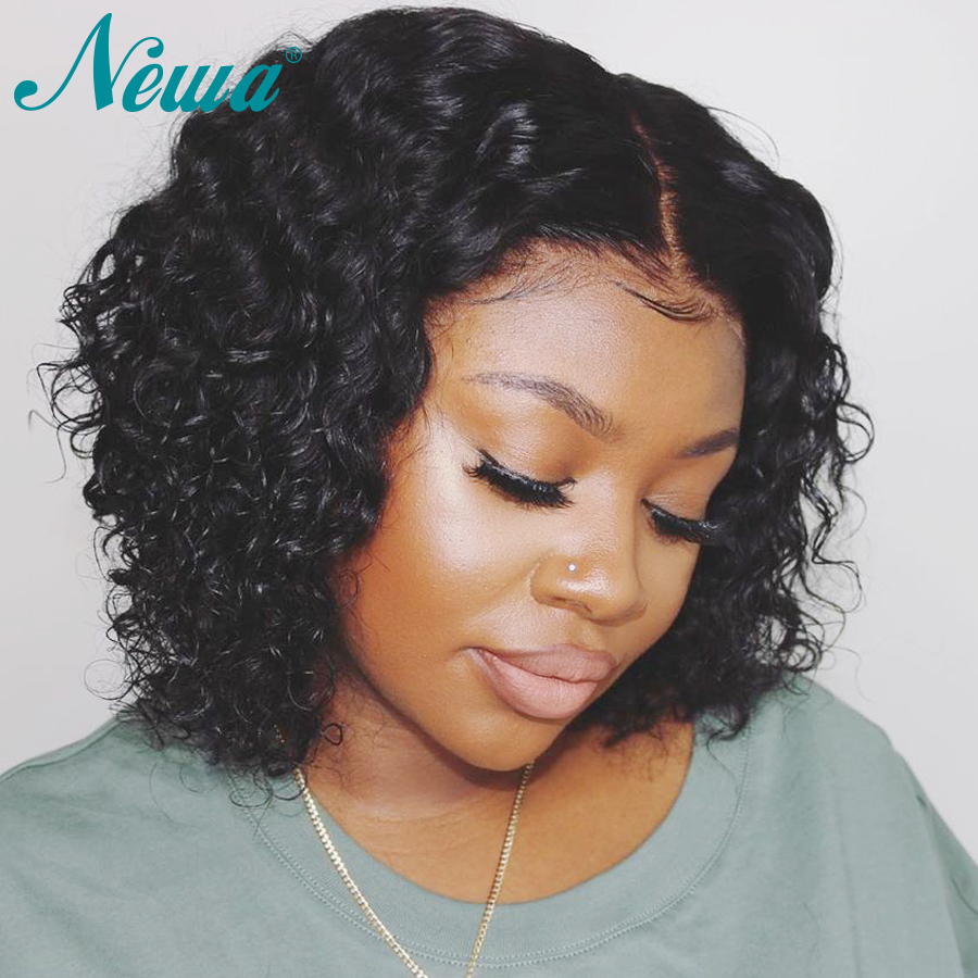 Newa Hair 360 Lace Frontal Wig Pre Plucked With Baby Hair Curly Lace Front Human Hair Bob Wigs For Women Brazilian Remy Hair