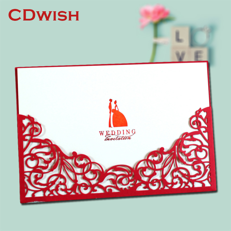 Design Laser Cut Fl Red Gold Wedding Invitations Cards