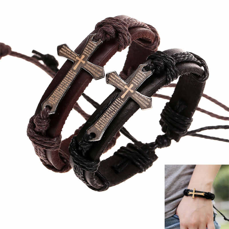 Men PU Leather Bracelet Knitted Wrap Lace-up Cross Charm Bangle Jewelry 8 LL@17