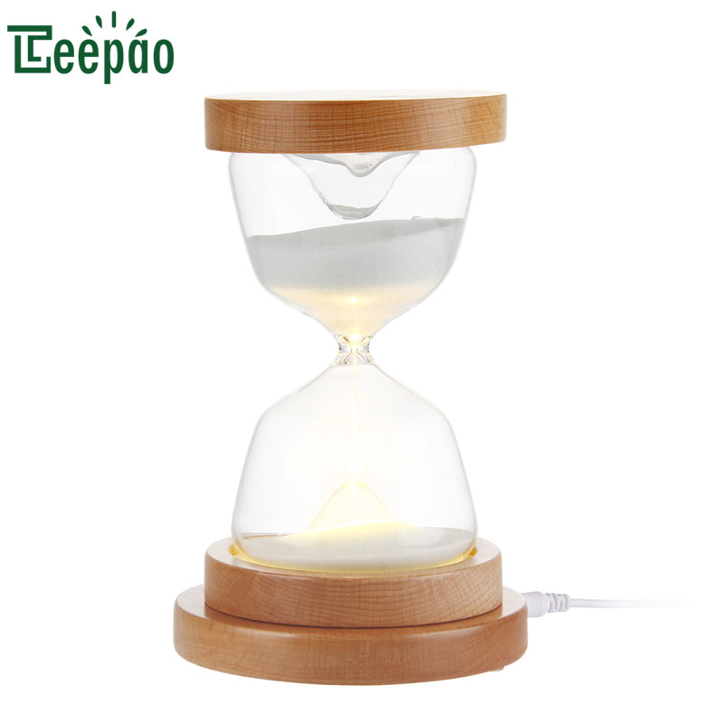 Creative Sandglass Night Light Glass Hourglass LED Touch Control Lamp Wood Induction Base Sleeping Timer Bedside Decoration Lamp