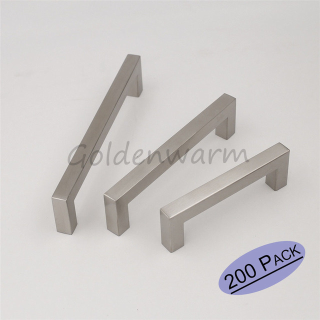 Superior Wholesale 200Pack Cupboard Pull Handles Square Bar Brushed Stainless Steel  Cabinet Pulls Hole Centers 96mm