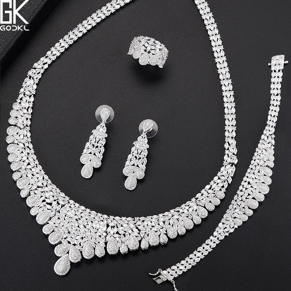 GODKI NEW Luxury 4PCS African Jewelry Sets For Women Wedding Cubic Zircon Crystal CZ Engagement DUBAI Silver Bridal Jewelry Sets luxury brand 100% real 925 sterling silver jewelry sets luxury cz diamant wedding engagement bridal sets for women african ys052