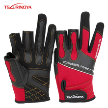 TSURINOYA R-A 3 Half-Finger Breathable Anti-Slip Fishing Lure Gloves Anti-slip an-slippery Wear-resistant Red Outdoor gloves