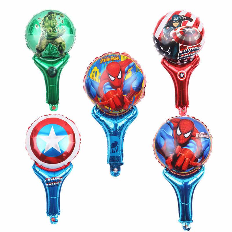 HDBFH New hand-held mão vara balão de alumínio dos desenhos animados superman das crianças festa de natal arranjo balões decorativos