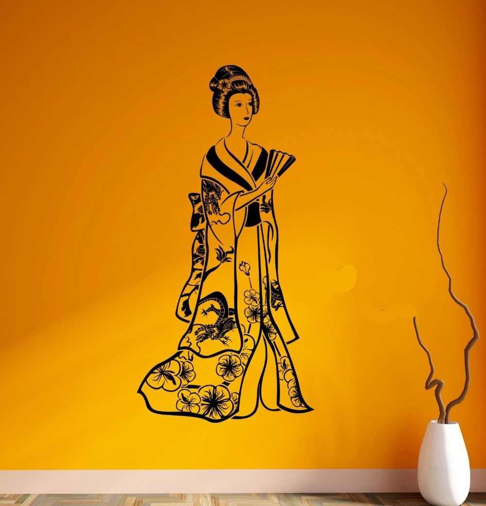 chất lượng cao tường vinyl dán tường decal geisha Nhật Bản cô gái vẻ đẹp người phụ nữ Nhật Bản đông dán vinyl d308