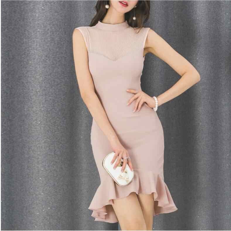 משלוח חינם חדש קוריאני צווארון עומד Slim חבילת ישבן תחרה נשים שמלת Bodycon שמלת fishtail שמלה