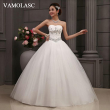 VAMOLASC Crystal Strapless Lace Ball Gown Wedding Dresses Off The Shoulder Pleat Backless Tulle Bridal Gowns