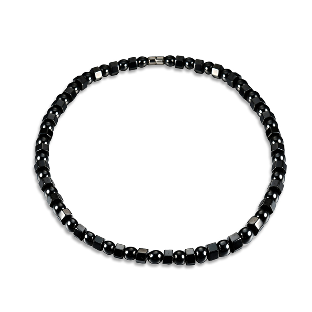 Men's Women's Black Strong Magnetic Therapy Hematite Beads Chakra Necklace Gift