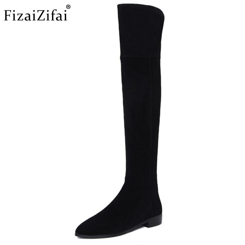 FizaiZifai Women Genuine Leather Over Knee Flats Boots Zipper Warm Shoes In Cold Winter Botas For Sexy Women Footwear Size 34-39FizaiZifai Women Genuine Leather Over Knee Flats Boots Zipper Warm Shoes In Cold Winter Botas For Sexy Women Footwear Size 34-39