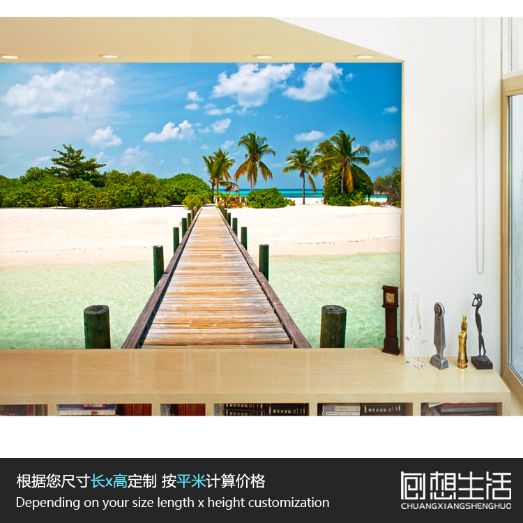 Aliexpress.com : Buy Beach Landscape Palm Tree Large 3d Mural Wallpaper  Bedroom Living Room Sofa TV Background Wall Paper Bar Wallpaper  Personalized From ...