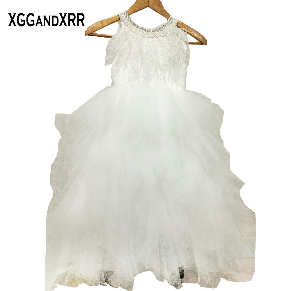 Hot Sale Tulle A Line Flower Girl Dresses 2018 Scoop Beaded Feather