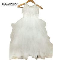 Hot Sale Tulle A Line Flower Girl Dresses 2017 Scoop Beaded Feather Off Shoulder Button Back
