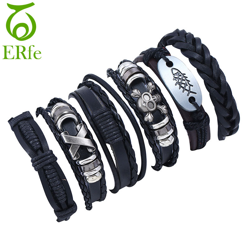 ER Genuine Black Wrap Leather Bracelet Male Hand Accessories Women Knitted Braclet Men Bohemian Cuff Wrist Band LB004