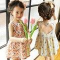 2016 Verão Coreano Crianças Festa Flor Menina Vestidos de Algodão de Impressão Amor Oco Crianças Infantil Da Criança Do Bebê Vestido de Princesa Roupas