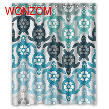 WONZOM Polyester Fabric Tortoise Cat Shower Curtains Bathroom With 12 Hooks Waterproof Accessories For Decor Modern Bath Curtain