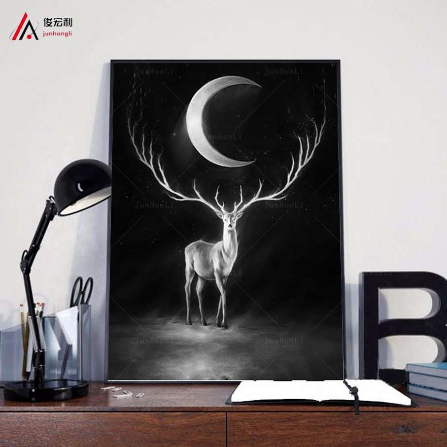 Aliexpress buy nordic art paintings vintage black and white aliexpress buy nordic art paintings vintage black and white the moonlight deer head animal silhouette picture wall decor canvas prints poster from amipublicfo Choice Image