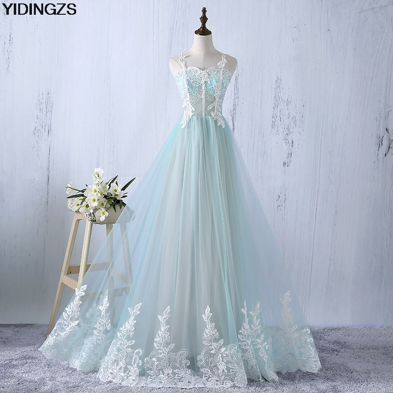 YIDINGZS Lace Up Back Appliques See-through   Evening     Dresses   Spaghetti Strap Formal Party   Dress