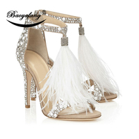 BaoYaFang Pure color hot diamond sexy feather sandals Woman wedding shoes fur dance performance Shoe High heel Summer sandals