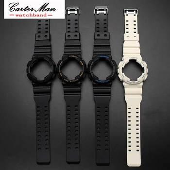 c7cd39062c2e De goma de silicona reloj banda accesorios convexo correa para Casio G-SHOCK  GA120 GA-100 GA-110 cierre de acero reloj Banda