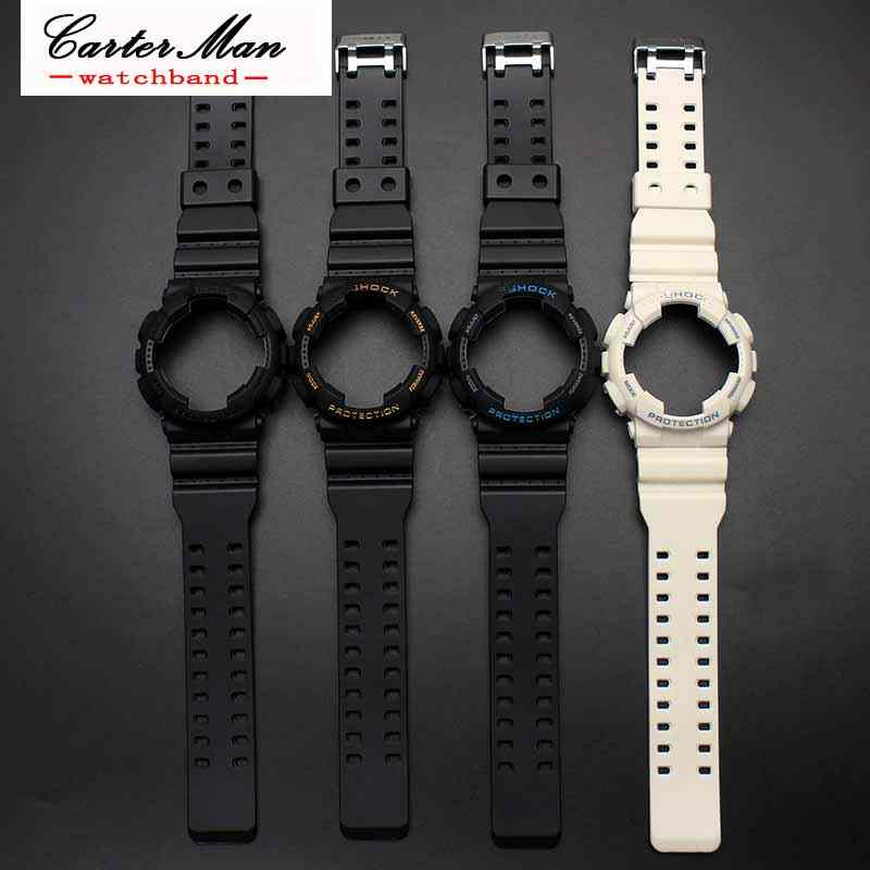 Silicone Rubber Watch Band Accessories Convex Strap For Casio G Shock Ga120 Ga 100 Ga 110 Steel Clasp Watch Band Watchcase