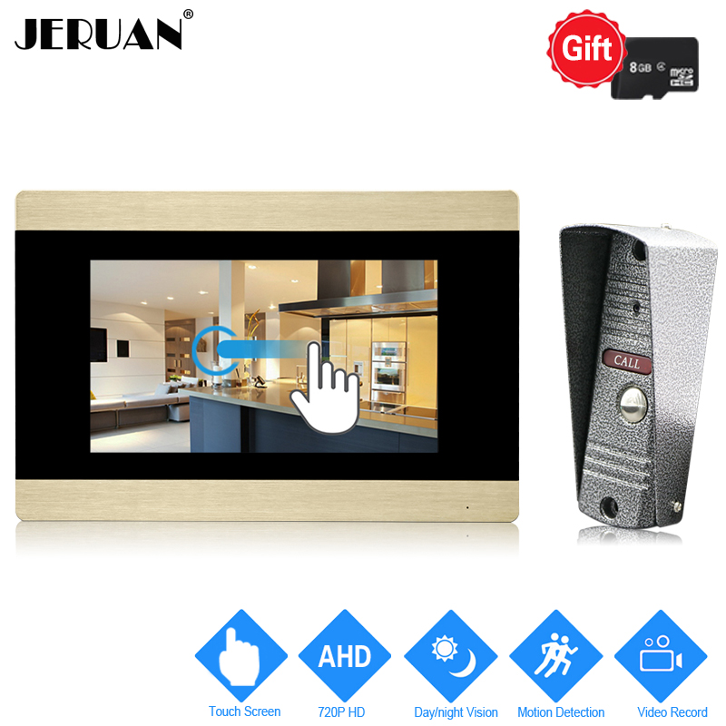 JERUAN 720P AHD HD Motion Detection 7 inch Touch Screen Video Doorbell DoorPhone Intercom System Record Monitor + IR Mini Camera 7 inch video doorbell tft lcd hd screen wired video doorphone for villa one monitor with one metal outdoor unit night vision