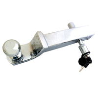 Trailer Hook with 2 Ball Mount Silver Chrome Long Tow Bar with Pin Lock
