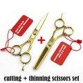 Professional titanium 6.0 5.5 ножницы истончение резки парикмахерские ножницы ножницы ножницы набор для укладки инструменты Бесплатная Доставка