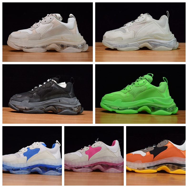 Men Triple S Clear Sole Black shoes Women Dad Clear Sole White Trainers Fashion Neon Green Sneakers(China)
