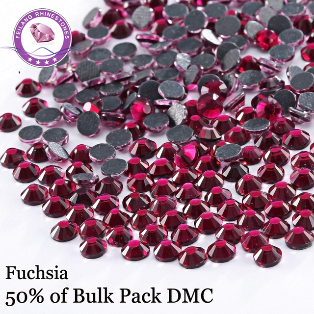 Luxurious SS6 -SS30 Color Fuchsia DMC High Quality Hotfix Rhinestones For Clothing Accessories DIY Decoration Iron On Stones