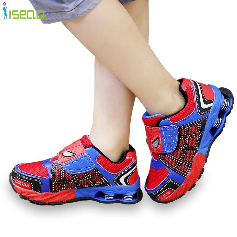 4-12Y Children boys spiderman Sneakers Kids cartoon Sports Shoes boy PU Casual Boots Rubber Button sport shoes EUR 26-37