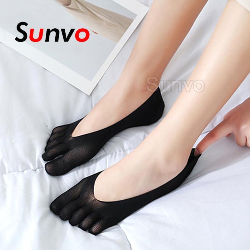 Sunvo Socks For Women Yoga Ballet Slipper Invisible Cotton Five Toe Sock Summer Thin Breathable Anti-skid Boat Socks Lady Insert