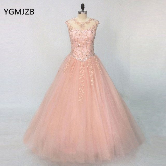Blue Turquoise Hot Pink Quinceanera Dresses 2018 Ball Gown Beaded Lace Tulle Vestidos De 15 Long Prom Gown For Girl